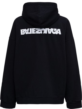Balenciaga Black Organic Cotton Hoodie With Logo