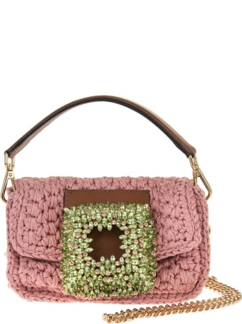 Gedebe Pink Small Mia Crochet Bag With Crystals