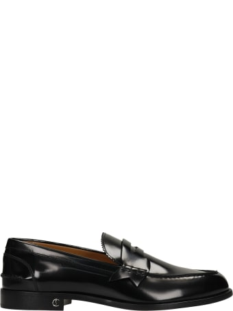 Christian Louboutin No Penny Flat Loafers In Black Leather
