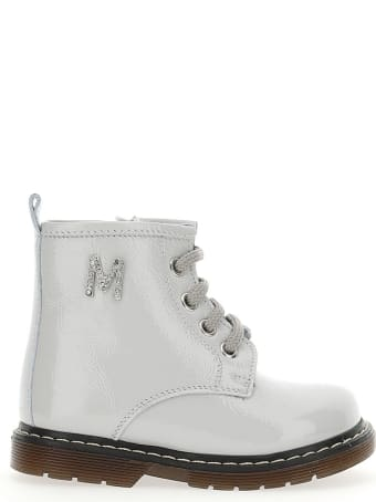 Monnalisa White Leather Boots With Logo