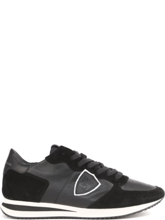 Philippe Model Black Leather Sneakers With Logo
