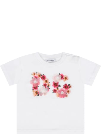 Dolce & Gabbana White T-shirt For Baby Girl With Flowers