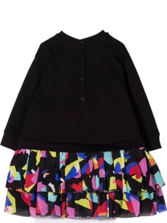Balmain Black Cotton Blend Sweatshirt Dress