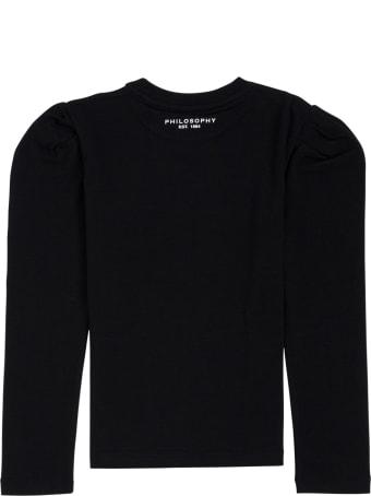 Philosophy di Lorenzo Serafini Kids Long-sleeved Cotton T-shirt With Logo