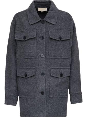 MICHAEL Michael Kors Grey Wool Blend Jacket With Pockets