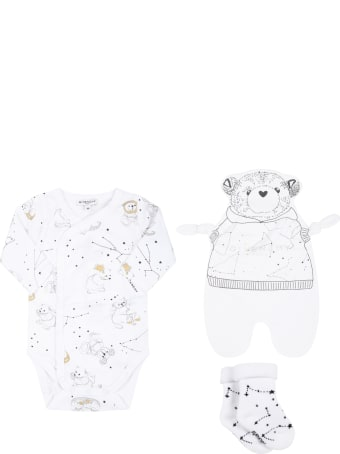 Givenchy White Set For Babykids With Logo And Constellations