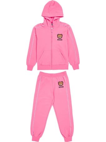 Moschino Pink Cotton Hoodie And Jogger Suit With Teddy Bear Patch