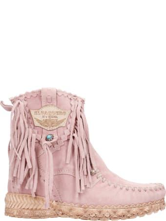 El Vaquero Cloe Ankel Boots Inside Wedge In Rose-pink Suede