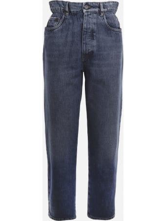 Miu Miu Paper Waist Jeans In Cotton Denim With Logo Detail