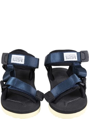 """SUICOKE Blue """"depa"""" Sandals For Kids With Logo"""