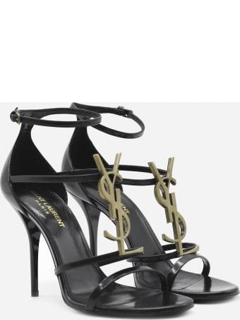 Saint Laurent Cassandra Sandals In Leather With Monogram