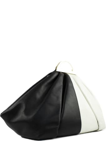 the VOLON White And Black Leather Clutch Bag