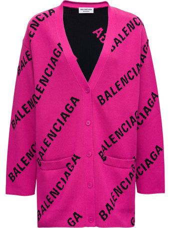 Balenciaga Wool And Cotton Cadigan With Allover Logo Print