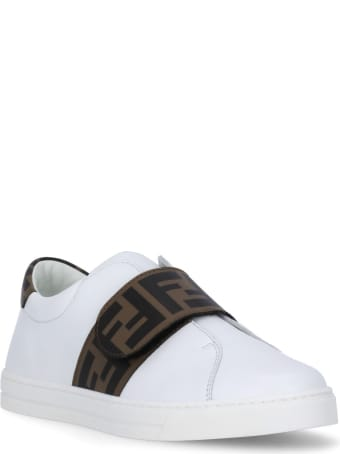 Fendi Leather Sneaker With Loged Strap