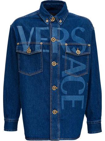 Versace Blouson Denim/jeans College Fit Denim Stone Washed Con Lavorazione Loghi Laser