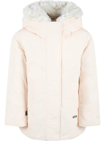 Woolrich Ivory Jacket For Kids With Patch Logo