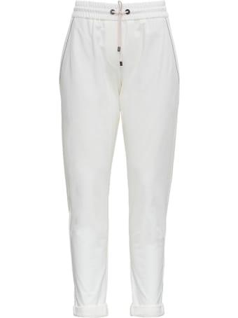 Brunello Cucinelli White Jersey Trousers With Monile Profiles