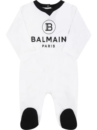 Balmain Set Bianco Per Neonati Con Logo Nero