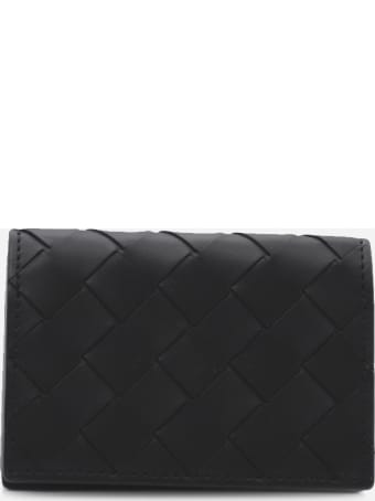 Bottega Veneta Bi-fold Card Holder In Leather With Woven Pattern