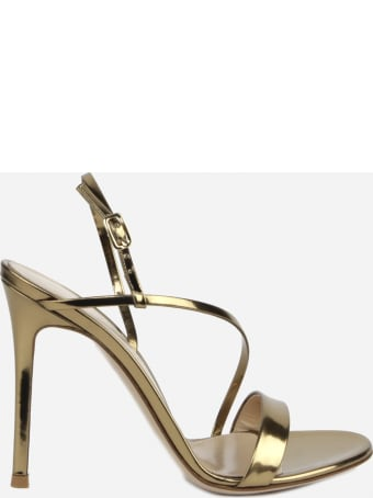 Gianvito Rossi Manhattan Sandals In Metallic Leather