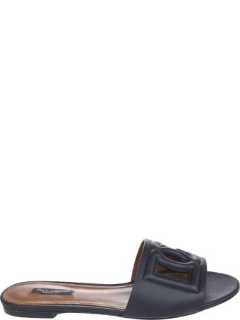 Dolce & Gabbana Embossed Logo Flat Sandals