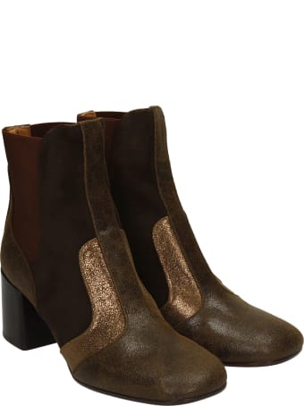 Chie Mihara Umay High Heels Ankle Boots In Brown Suede And Leather