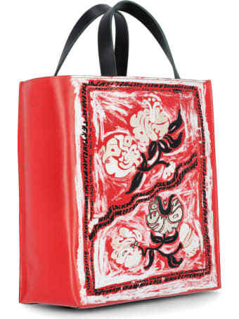 Marni Museo Soft Leather Bag With Marnifesto Print