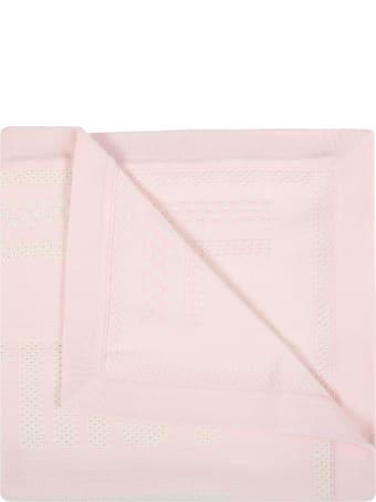 Fendi Pink Blanket For Baby Girl With Logo