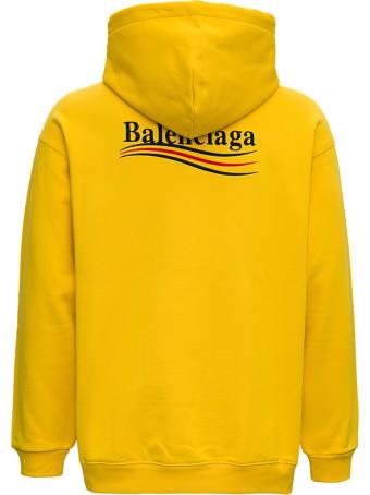 Balenciaga Organic Cotton Yellow Hoodie With Logo Print