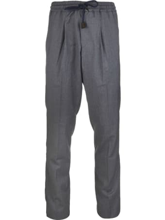 Fedeli Man Grey Tailored Trousers With Elasticated Waist