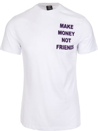 Make Money Not Friends White T-shirt With Front And Back Velvet Effect Purple Logo
