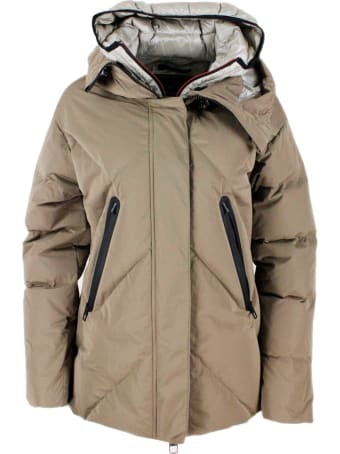 Montecore Down Jacket In Real Goose Down With Chevron Pattern With Diamond Quilting, With Double Hood With The Internal One With Detachable Front