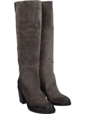 Strategia High Heels Boots In Grey Suede