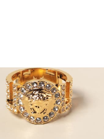 Versace Jewel Icon Versace Ring With Medusa Head And Crystals