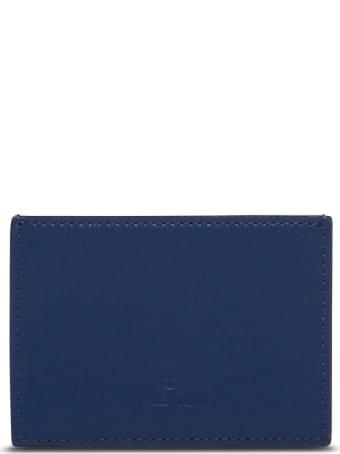 Valentino Garavani Vltn Card Holder In Blue Leather