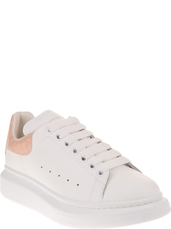 Alexander McQueen Woman White And Crocodile-effect Pink Oversize Sneakers