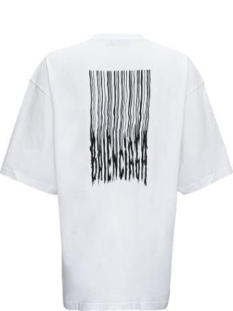 Balenciaga White Cotton Oversize Barcode T-shirt