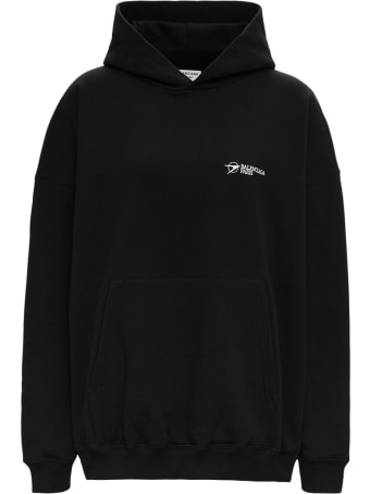 Balenciaga Oversize Organic Cotton Hoodie  With Logo