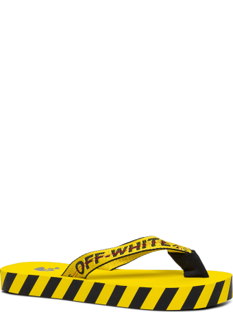 Off-White Industrial Rubber And Fabric Flip Flops