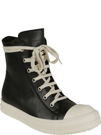 Rick Owens Side Zipped Lace-up Ankle Boots