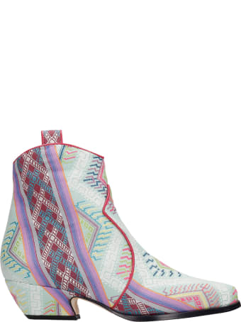 Bams Texan Ankle Boots In Multicolor Fabric
