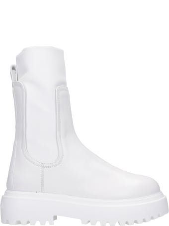 Le Silla Combat Boots In White Leather