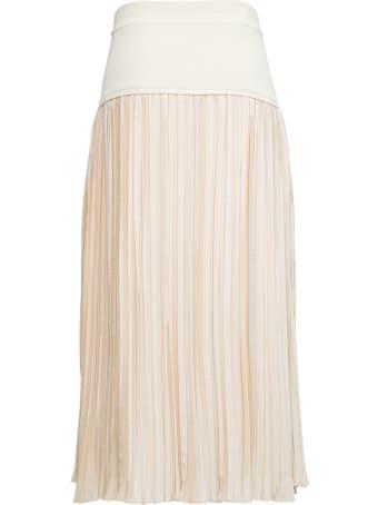 Jil Sander Beige Pleated Skirt