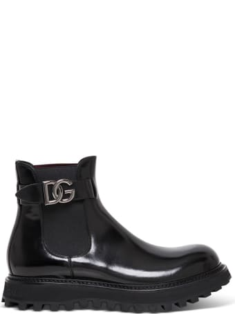 Dolce & Gabbana Glossy Black Leather Boots With Logo