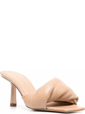 Studio Amelia Twist Mules In Beige Leather
