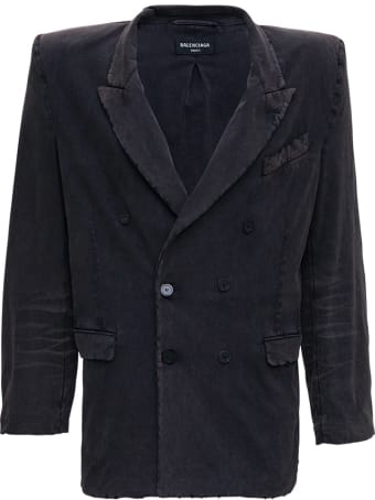 Balenciaga Double-breasted Jacket In Washed Effect Black Cotton