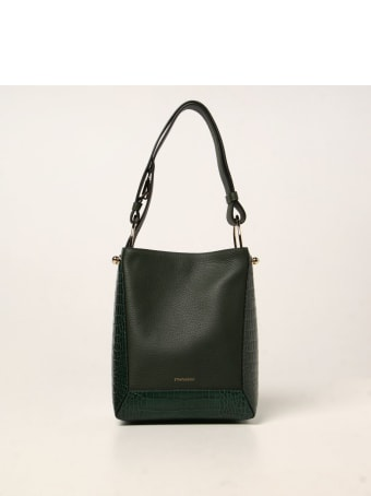 Strathberry Shoulder Bag Strathberry Midi Wool Bag In Textured Leather And With Crocodile Print