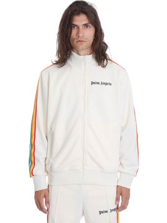 Palm Angels Rainbow Track Sweatshirt In White Polyester