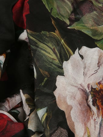 Dolce & Gabbana Fringed Edge Floral Print Scarf