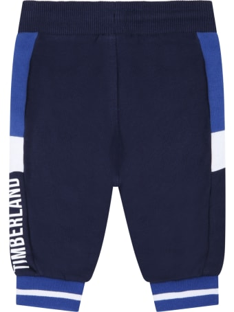 Timberland Blue Sweatpant For Baby Boy With Logo